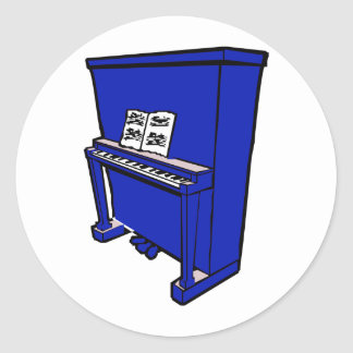 grand blue upright piano with music.png classic round sticker