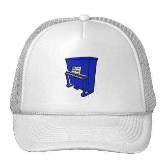 grand blue upright piano with music.png trucker hat