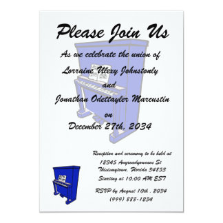 grand blue upright piano with music.png 5x7 paper invitation card