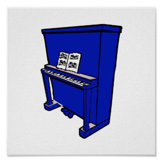 grand blue upright piano with music.png poster