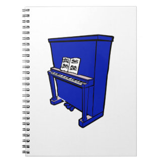 grand blue upright piano with music.png spiral notebook
