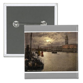 Grand Canal and Doges' Palace by moonlight, Venice Button