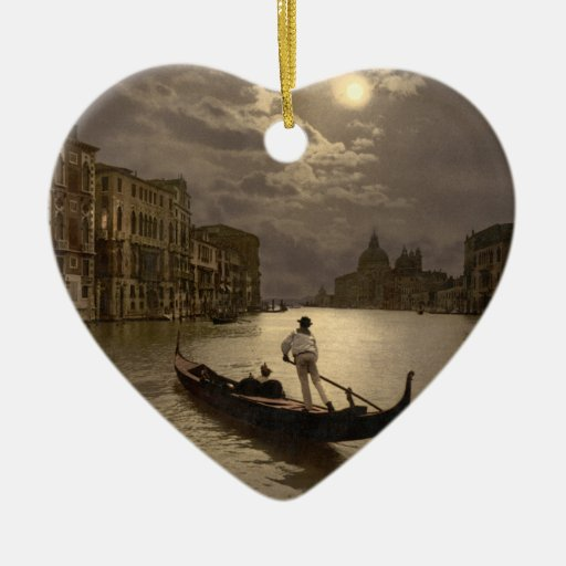 Grand Canal by Moonlight II, Venice, Italy Double-Sided Heart Ceramic Christmas Ornament