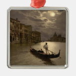 Grand Canal by Moonlight II, Venice, Italy Square Metal Christmas Ornament