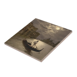 Grand Canal by Moonlight II, Venice, Italy Tile
