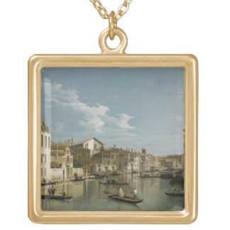 Grand Canal from Palazzo Flangini to Palazzo Bembo Gold Plated Necklace