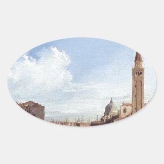 Grand Canal From Santa Maria Della Carita Oval Sticker