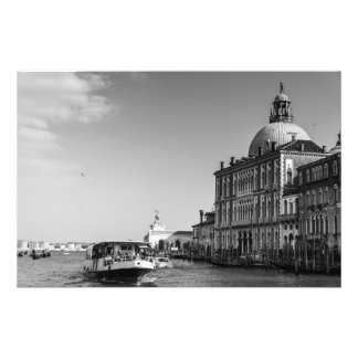Grand Canal in Venice in Black and White Photo Print