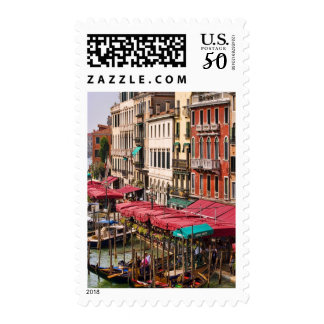 Grand Canal of Venice Italy with gondola boats Postage