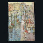 """Grand Canal, Venice by Maurice Prendergast Hand Towel<br><div class=""""desc"""">The Grand Canal, Venice (1898/1899) by Maurice Prendergast is a vintage post impressionism fine art watercolor maritime painting. Houses and homes with traditional Italian architecture along the Venetian canal. A seascape featuring a the famous canals and a cityscape in Venice, Italy. Crowds of people are walking by the waterfront, beautiful...</div>"""