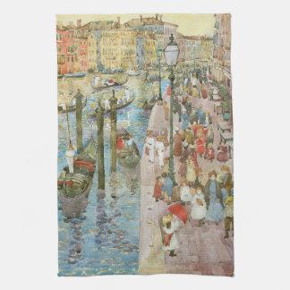 Grand Canal, Venice by Prendergast, Vintage Art Hand Towel