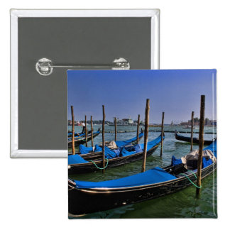 Grand Canal water with gondalo boats lined up Button