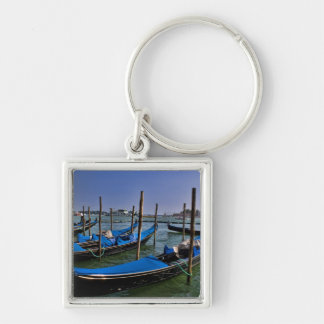 Grand Canal water with gondalo boats lined up Keychain