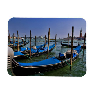 Grand Canal water with gondalo boats lined up Magnet