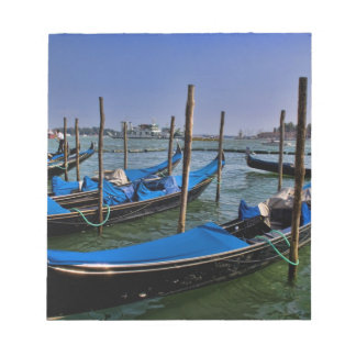Grand Canal water with gondalo boats lined up Notepad