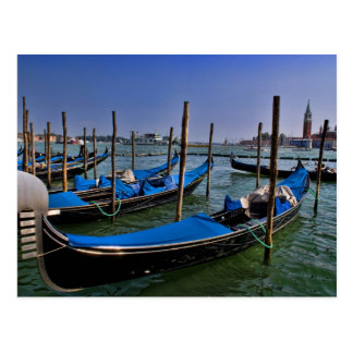 Grand Canal water with gondalo boats lined up Postcard