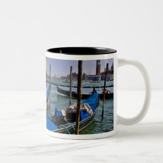 Grand Canal water with gondalo boats lined up Two-Tone Coffee Mug