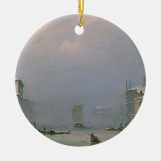 Grand Canal with Snow and Ice, 1849 Ceramic Ornament