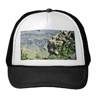 Grand Canyon Framed By Rock And Shrubs Mesh Hats