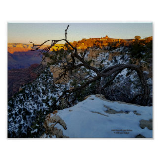 Grand Canyon in winter with snow view of El Tovar Poster