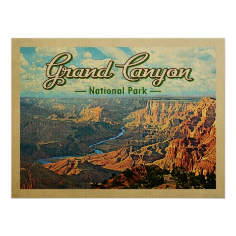 Grand Canyon National Park Vintage Travel Poster