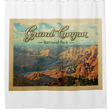 Grand Canyon National Park Vintage Travel Shower Curtain