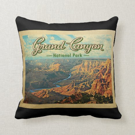 Grand Canyon National Park Vintage Travel Throw Pillow