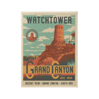 Grand Canyon National Park Watchtower Wood Poster