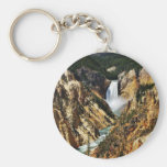 Grand Canyon Of The Yellowstone Park Looking Towar Basic Round Button Keychain