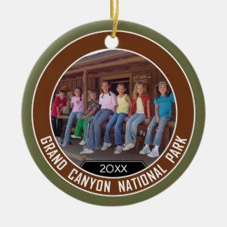 Grand Canyon PHOTO FRAME Souvenir Double-Sided Ceramic Round Christmas Ornament