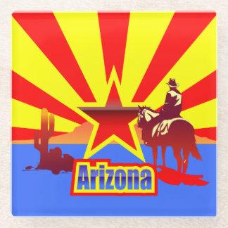 Grand Canyon State Flag Vintage Illustration Glass Coaster