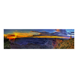Grand Canyon Sunbeams and Tower Panorama Poster