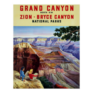 Grand Canyon ~ Vintage Travel Poster.