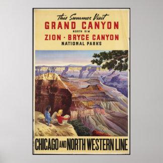 Grand Canyon Vintage Travel Poster Ad Retro Prints