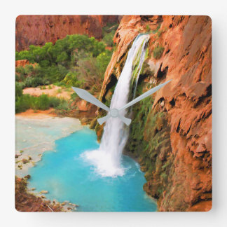 Grand Canyon waterfalls. Square Wall Clock