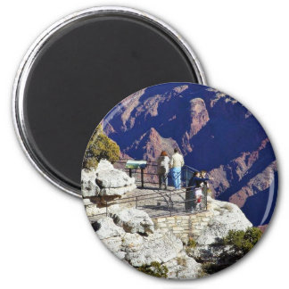 Grand Canyons Overlook Railings Pointing 2 Inch Round Magnet