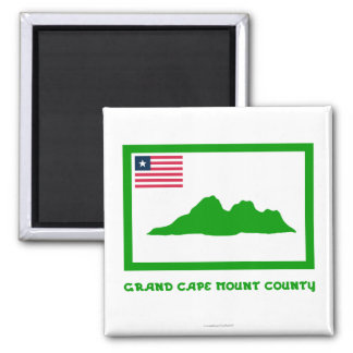 Grand Cape Mount County Flag with Name 2 Inch Square Magnet