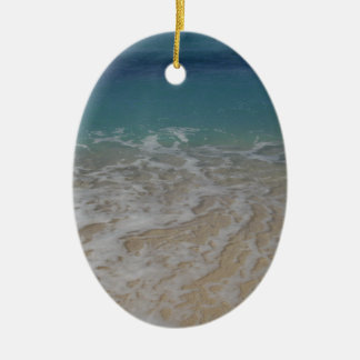 Grand Cayman Island Beach Double-Sided Oval Ceramic Christmas Ornament