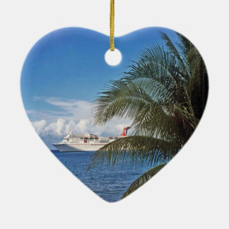 Grand Cayman Double-Sided Heart Ceramic Christmas Ornament