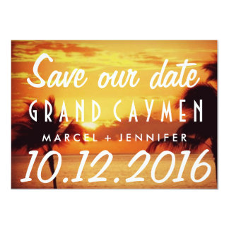 Grand Cayman Sunset Destination Wedding Save Date 4.5x6.25 Paper Invitation Card