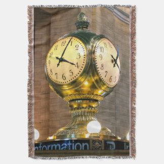 Grand Central Station Clock Throw Blanket