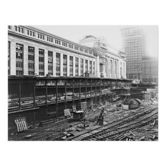 Grand Central Station Construction 1910 Print
