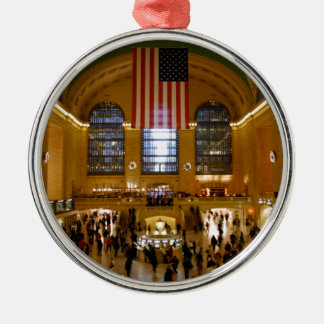 Grand Central Station New York Round Metal Christmas Ornament