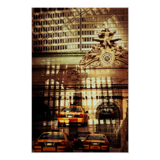 Grand Central Station, NYC, collage with cabs Print