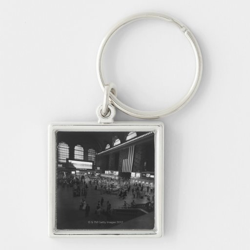 Grand Central Station Silver-Colored Square Keychain