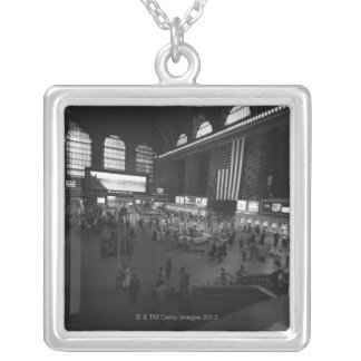 Grand Central Station Square Pendant Necklace