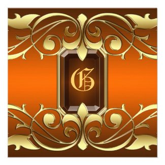 Grand Duchess Amber Jewel Gold Regency Invitation