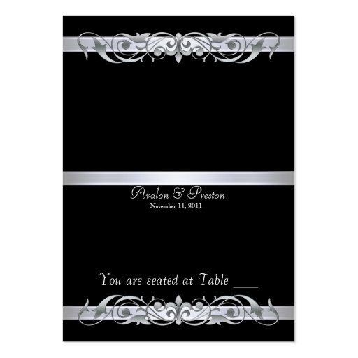 Grand Duchess Black Folding Table Placecard Business Card Templates
