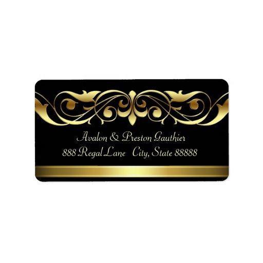 Grand Duchess Black Gold Scroll Address Labels