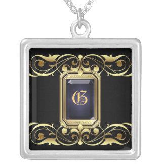 Grand Duchess Black Jewel Gold Scroll Necklace